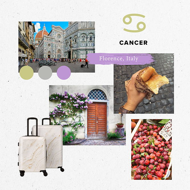 Horoscope, 2020, Travel, cancer, florence, gold marble, luggage