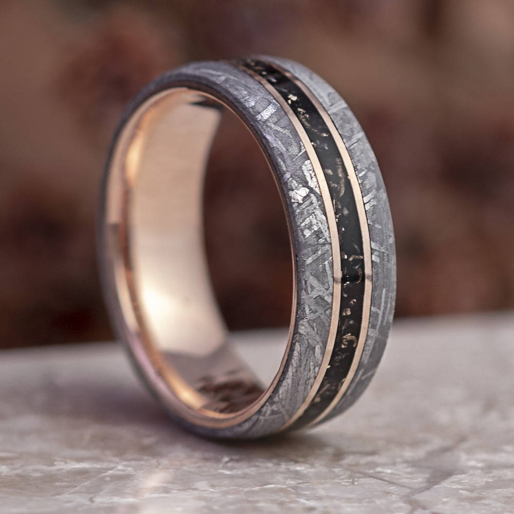 Rose Gold Stardust Wedding Band