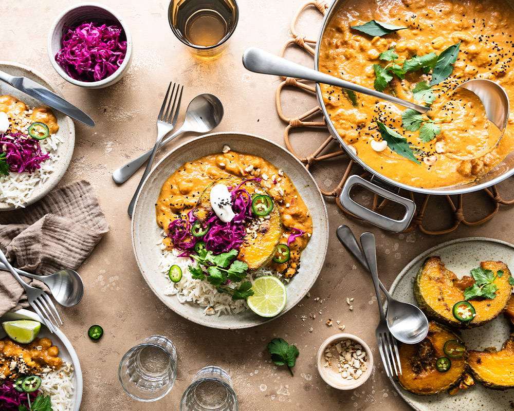 CHICKPEA MAKHANI WITH SPICED ROASTED CROWN PRINCE SQUASH