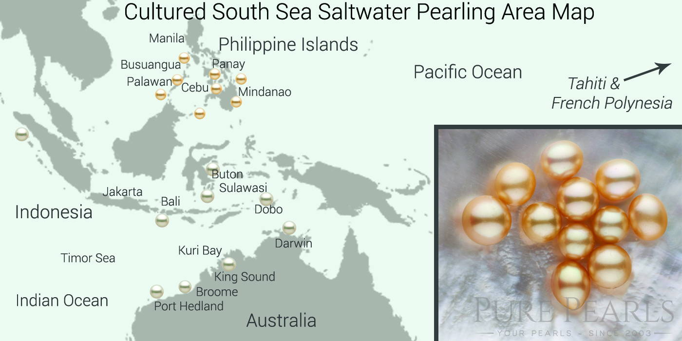 South Sea pearl farming takes place in the tropical Philippine Islands and the Northern coast of Australia