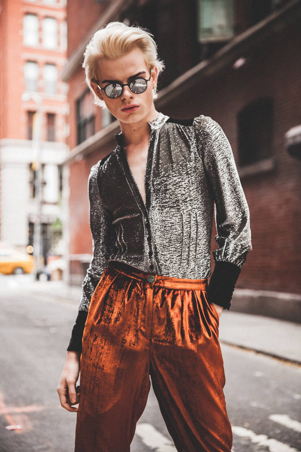 Flying Solo Independent Designers New York City Boutique Street Style Photo Shoot Monzlapur Silver Top