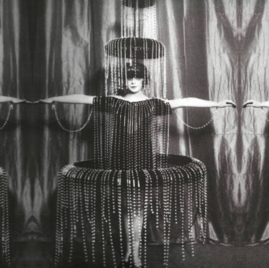 The Marchesa Luisa Casati saw herself as a living work of art. Here she is in a fabulous Fountain costume made of delicate tiers of pearls and wire by Paul Poiret, circa 1920.