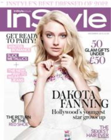 In Style magazine cover with Dakota Fanning