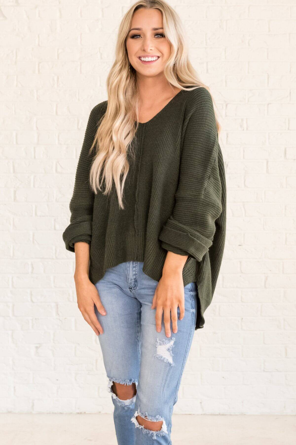 Forest Green Cute High Low Pullover Sweaters for Women