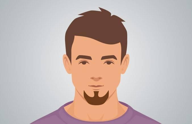 Goatee - A small beard that elongates the chin