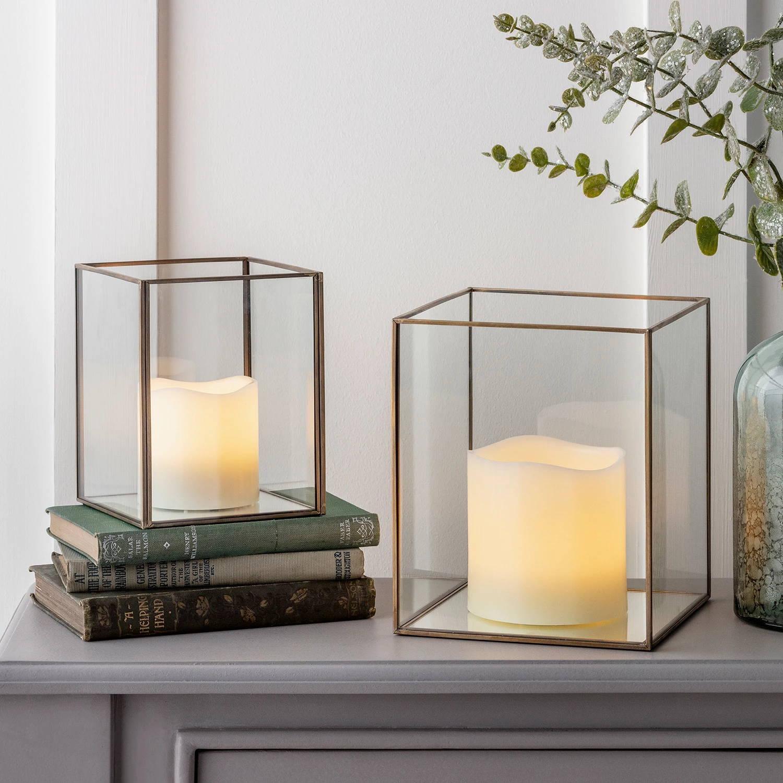 Lanternes en Verre et Cuivre Patiné avec Bougies