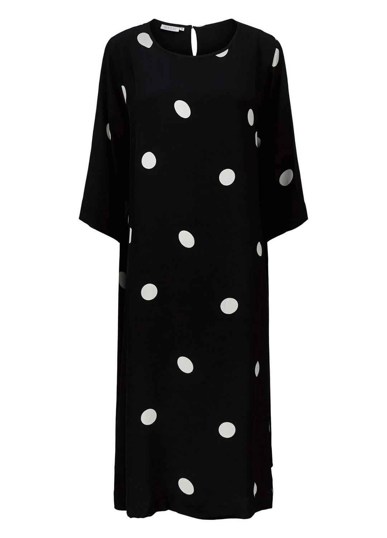 Nabia Dress in Black and White Polka Dot - Ghost Shot