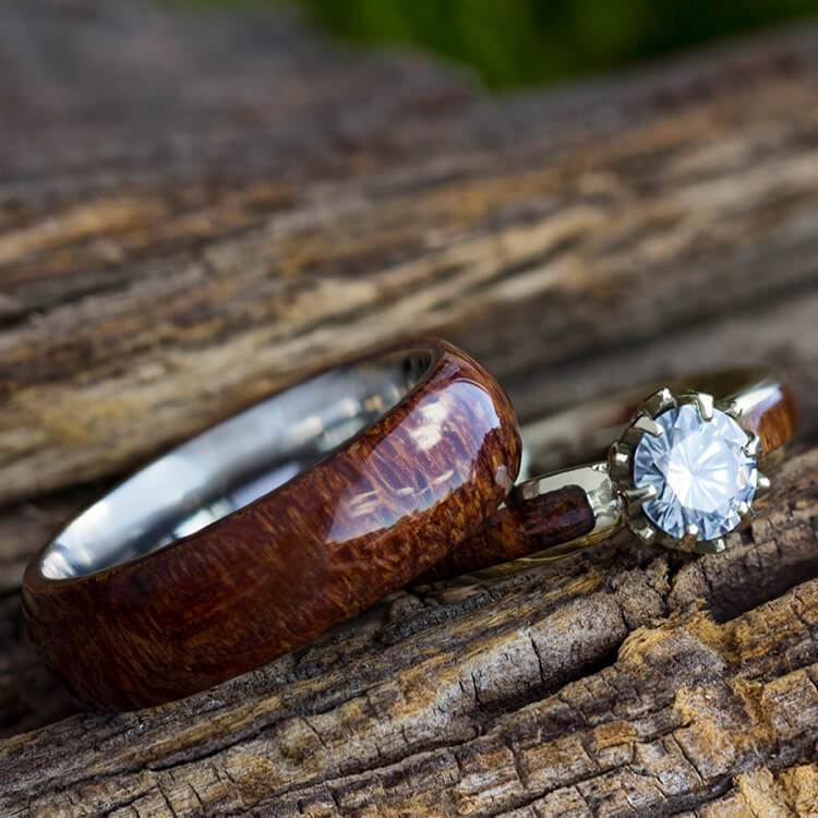 Wood Engagement Ring and Wedding Band, Wood Bridal Set