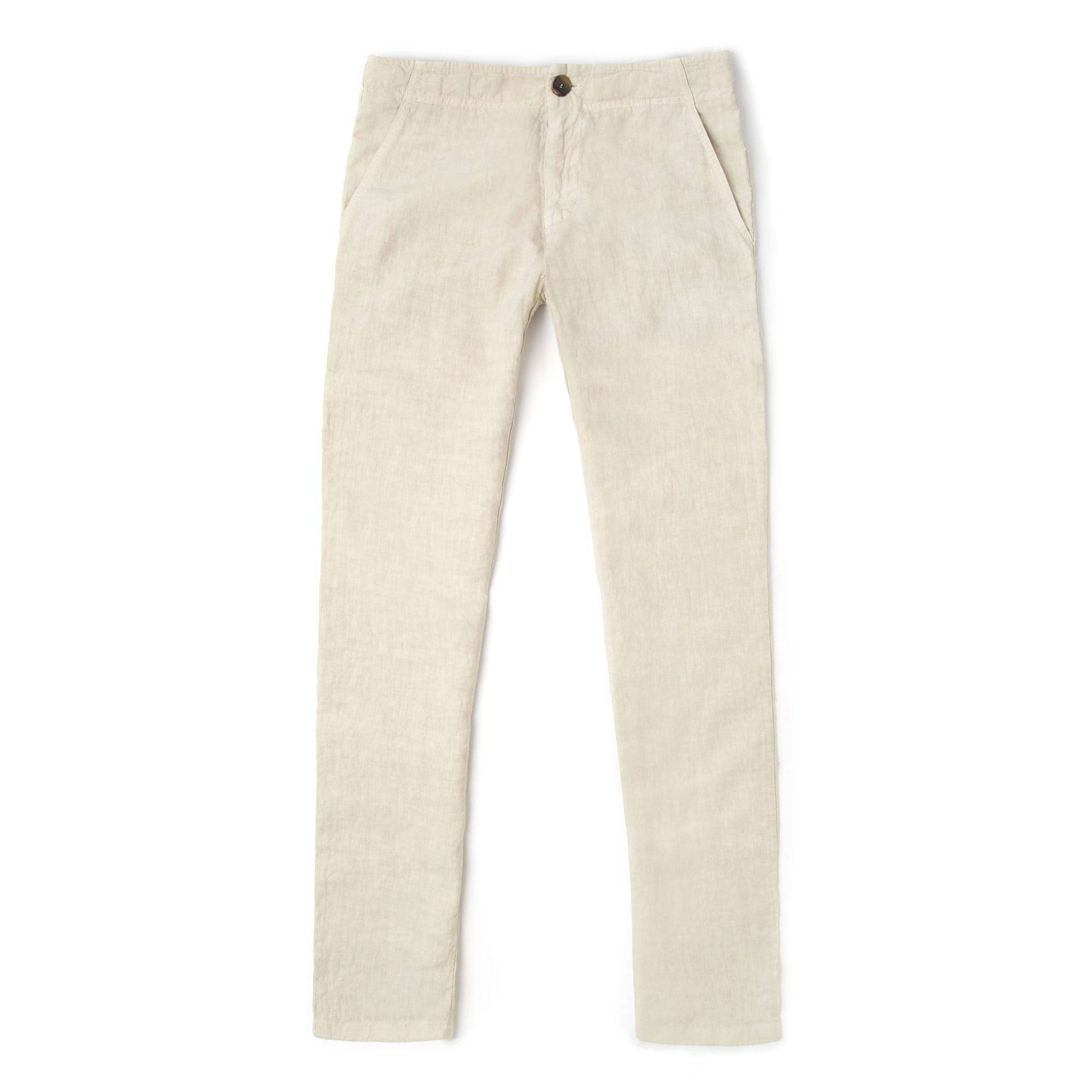 Luca Faloni Sand Linen Trousers Made in Italy
