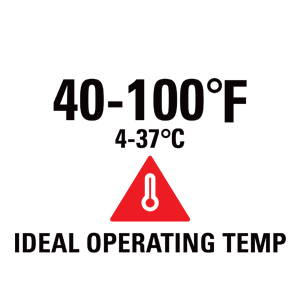 40-100 degrees F (4-37 degrees C) ideal operating temperature