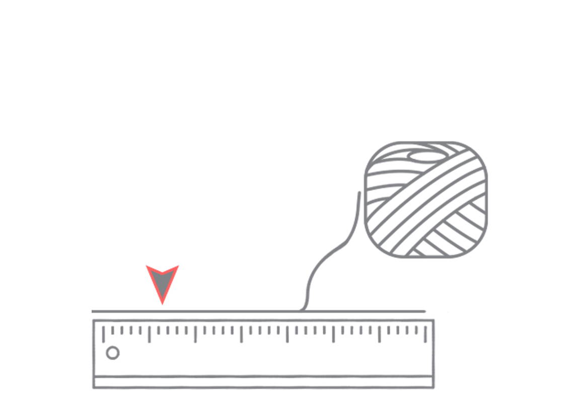 Line drawing of string laying next to a ruler