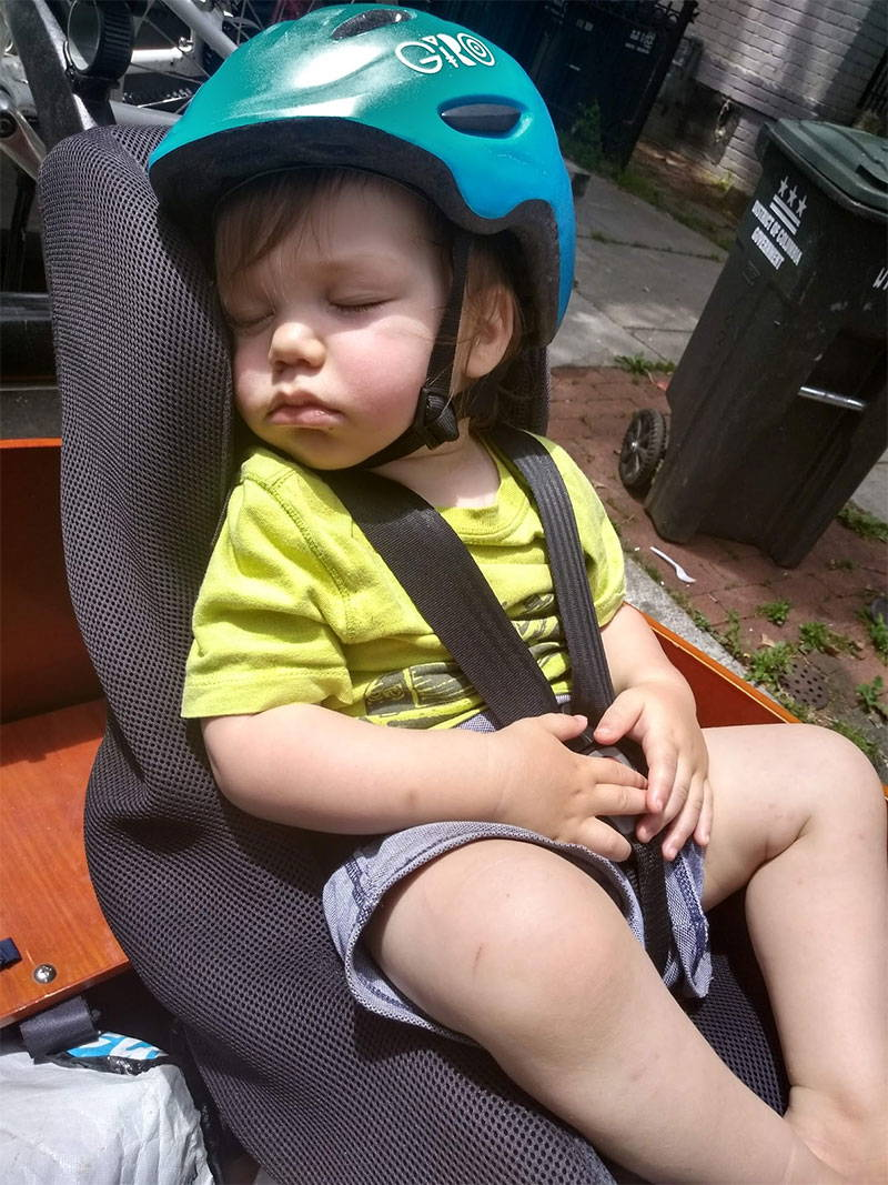 Kid napping in a Bunch Bike