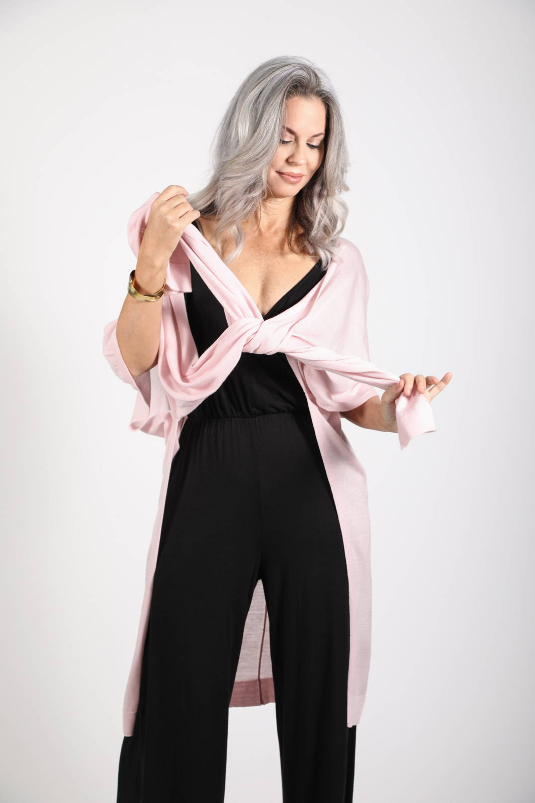 The Kirigam Jumpsuit with the Lux Kimono in blush
