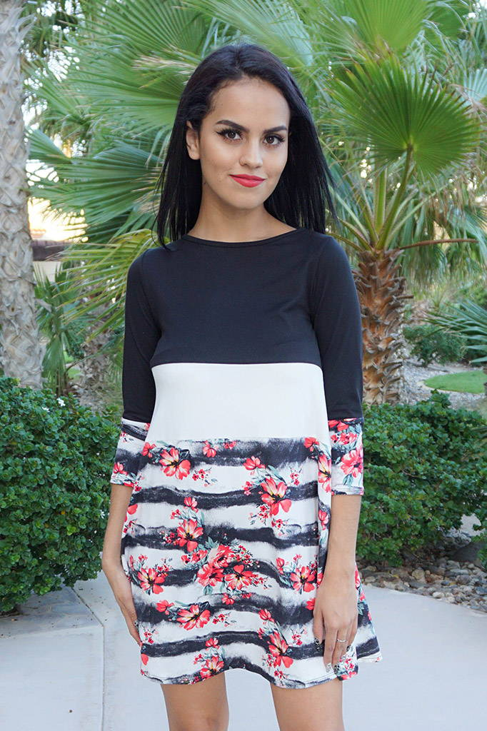 One Sweet Day Black And White Floral Print Stripe Swing Dress
