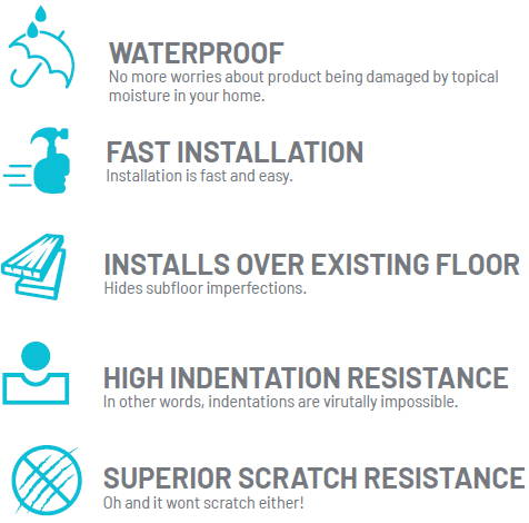 waterproof, fast installation, installs over existing floor, high indentation resistance, superior scratch resistance