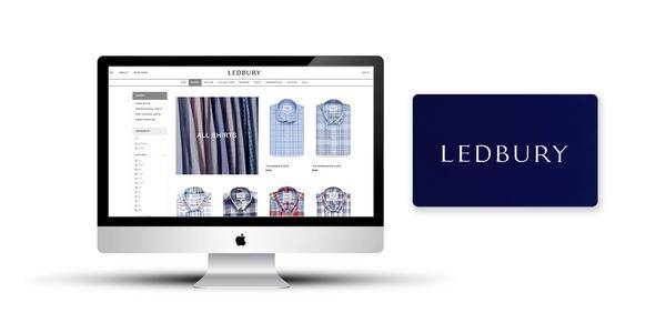 Desktop screen showing Ledbury's website with a Ledbury physical gift card next to it