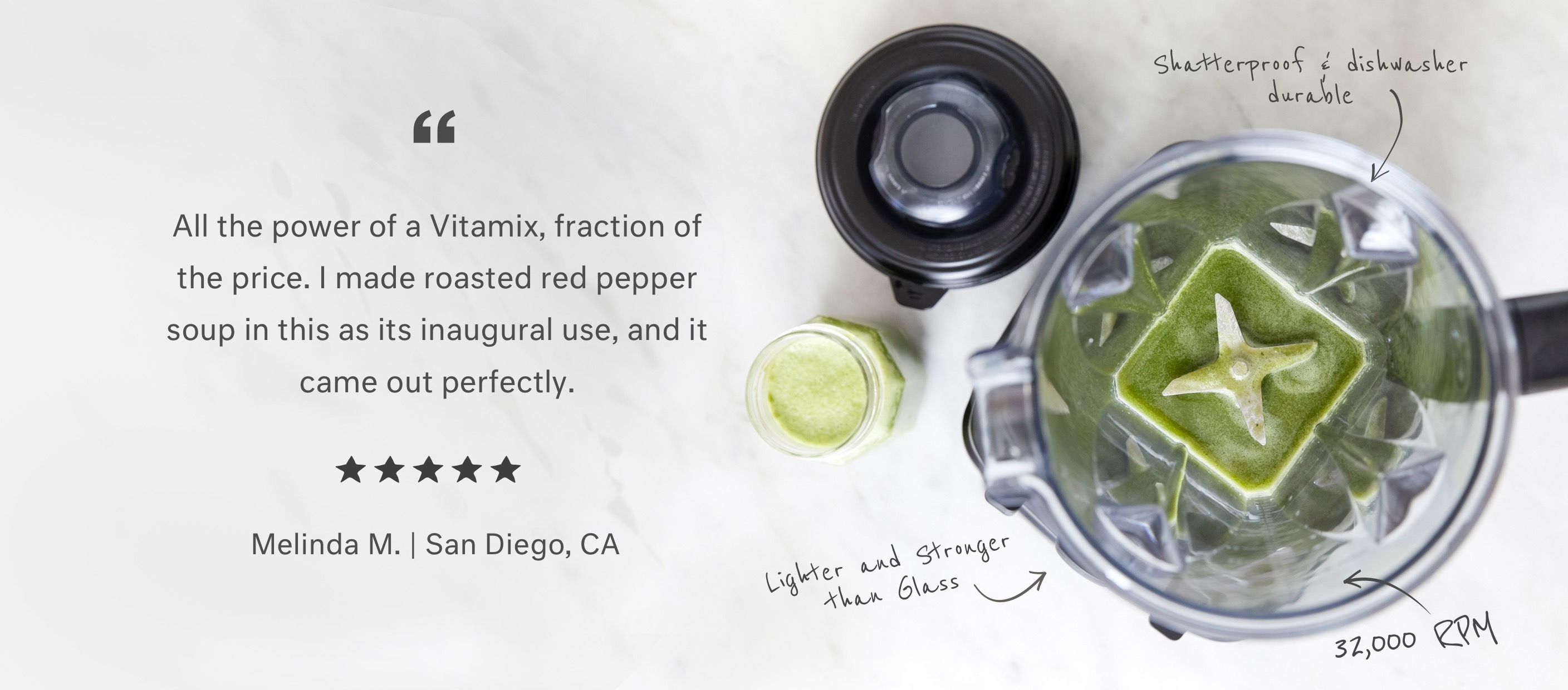All the power of Vitamix, fraction of the price.