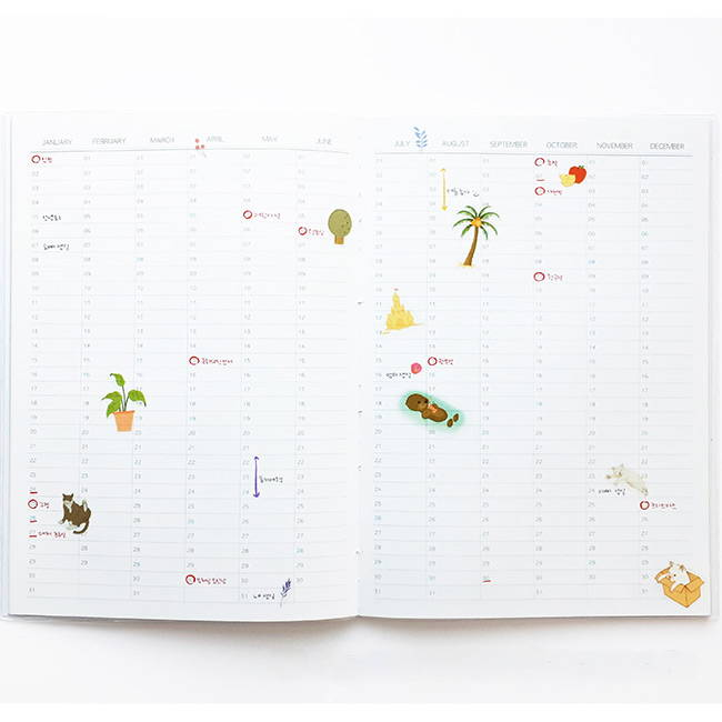 Yearly plan - O-CHECK 2020 Linen paper A4 dated monthly diary planner