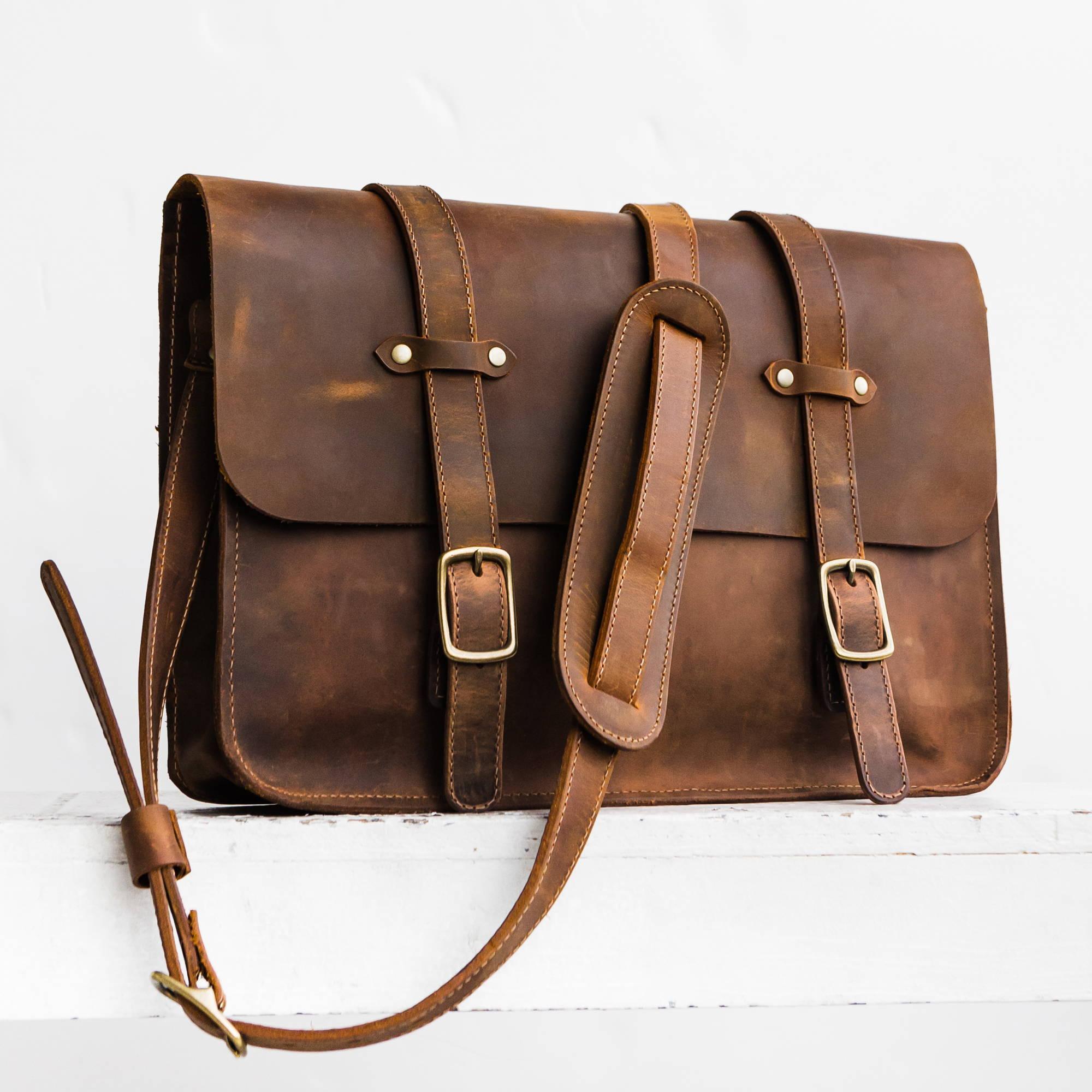 handmade leather laptop messenger bag