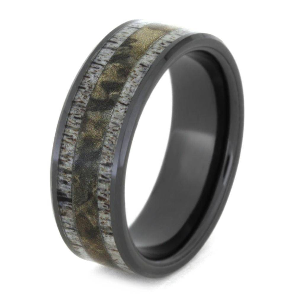 Black Ceramic Antler and Camo Ring
