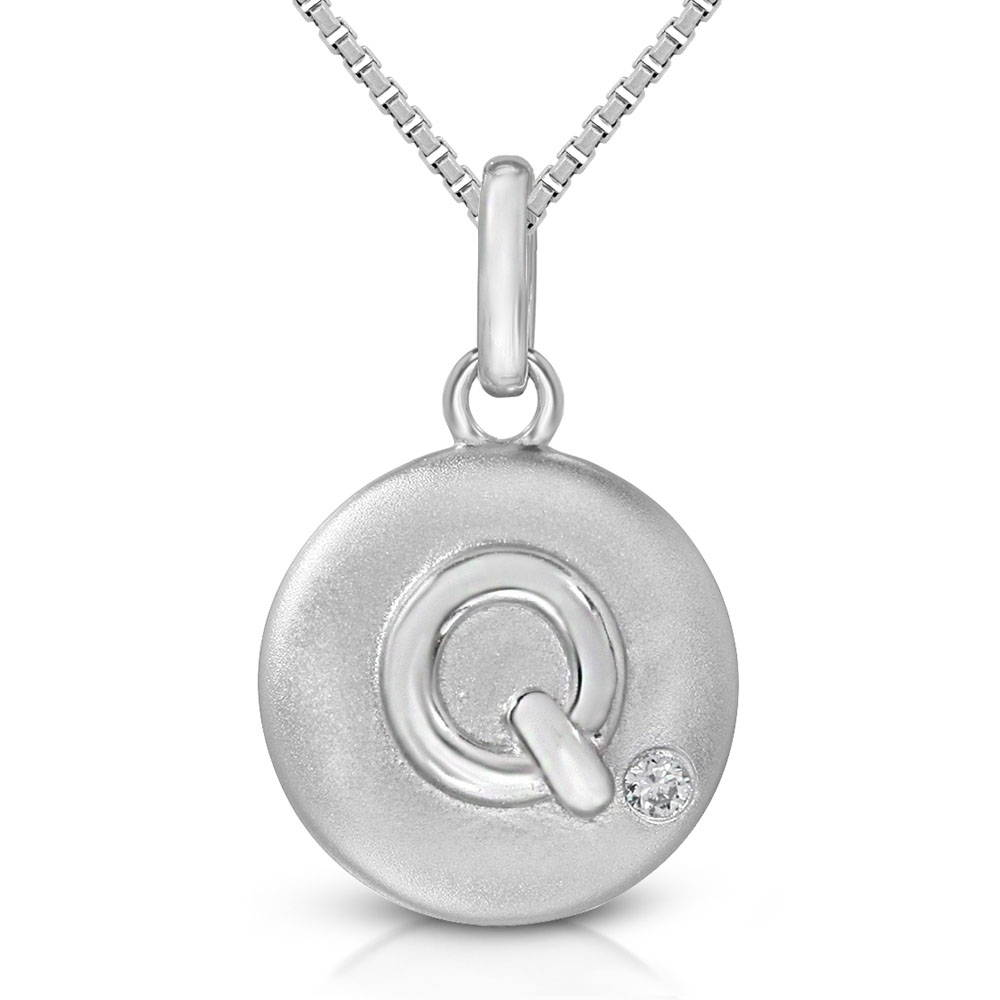 Pure at Birth letter Q pendant with greek box necklace