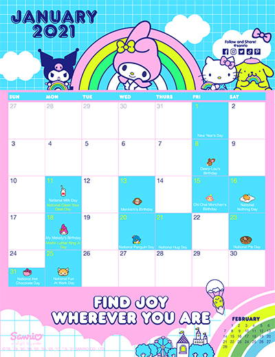 Sanrio's January Friend of the Month Calendar!