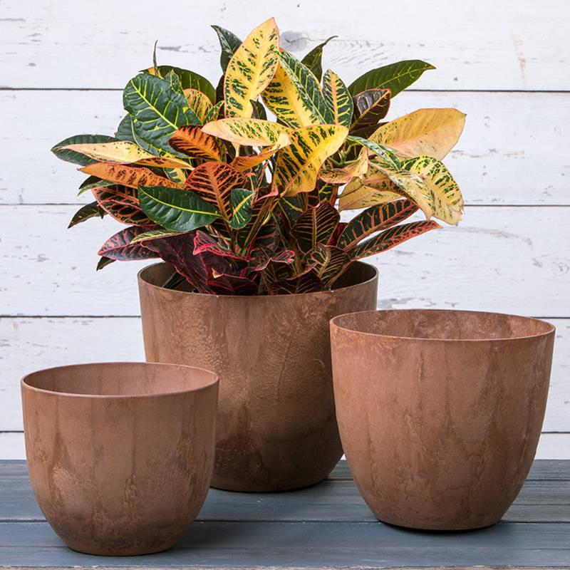 Rust colored Fiji round planter set