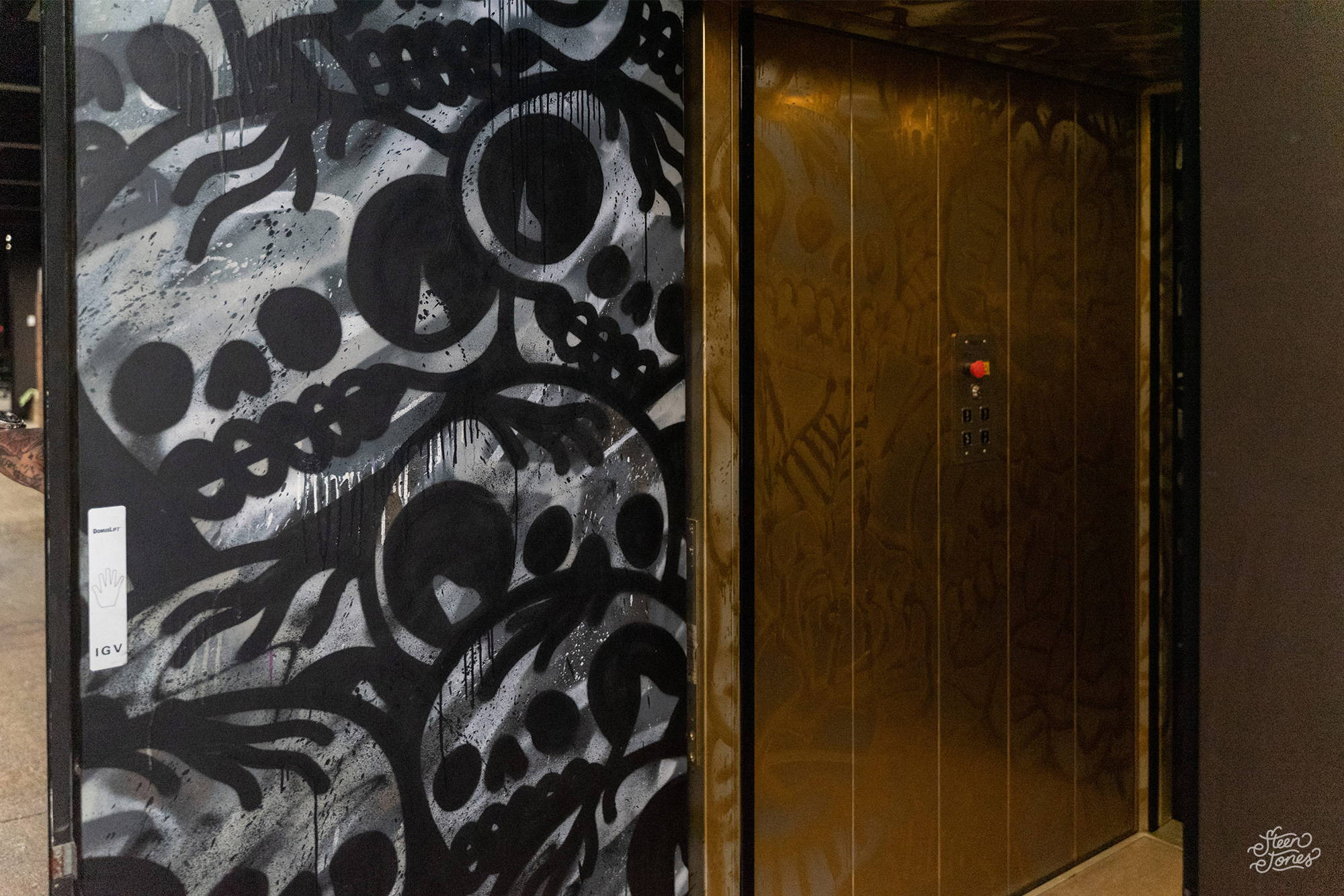 Steen Jones tattoo street artist Australia Private Commission Teneriffe elevator mural