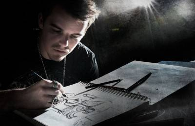 Nick creating a sketch that would become  the Covenant design