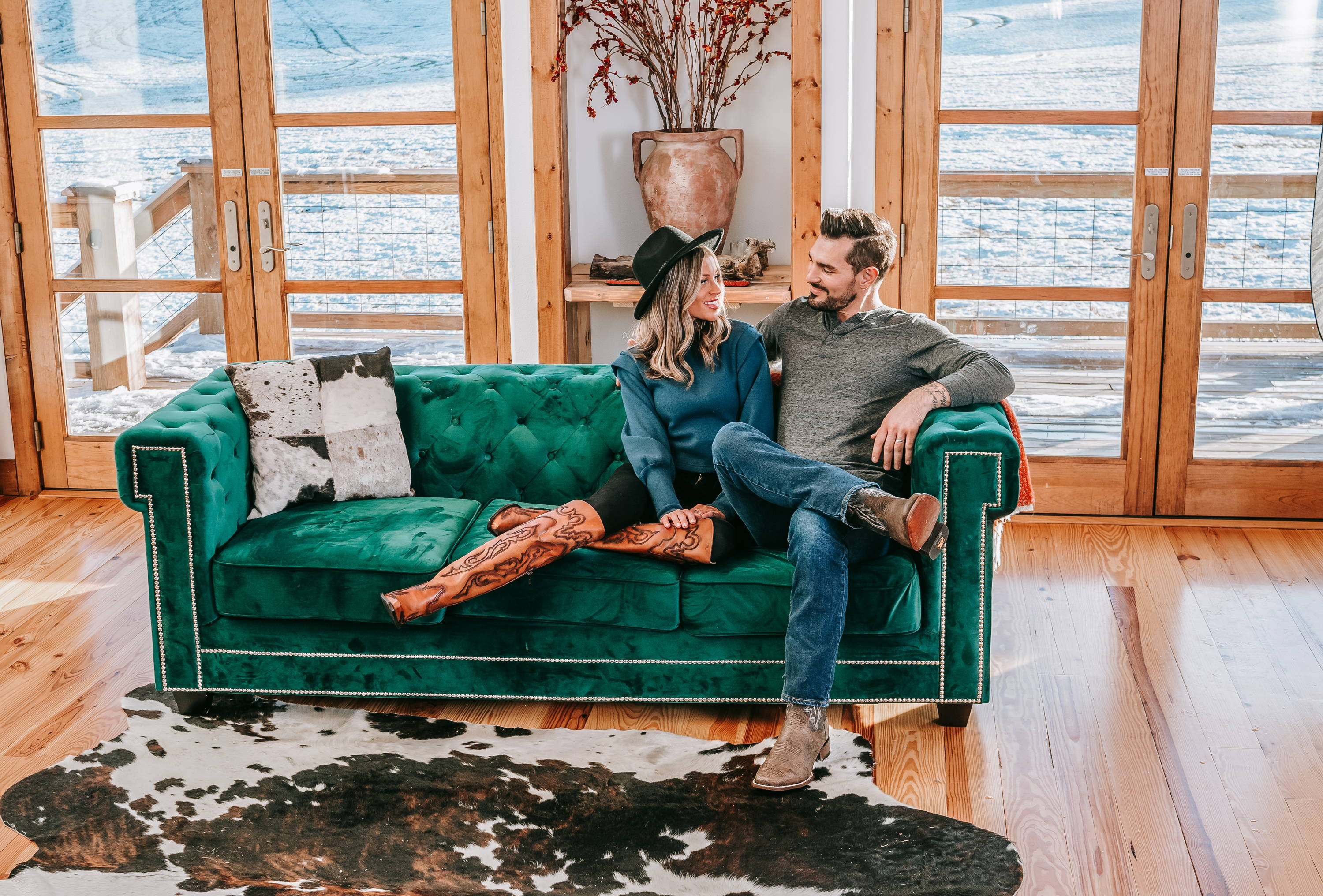 Dan Post Boots Header Image of couple on couch in boots