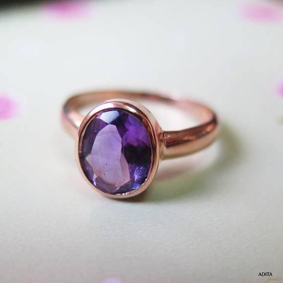 טבעת וינטג' אליפסה אמטיסט מזהב אדום 14 קראט