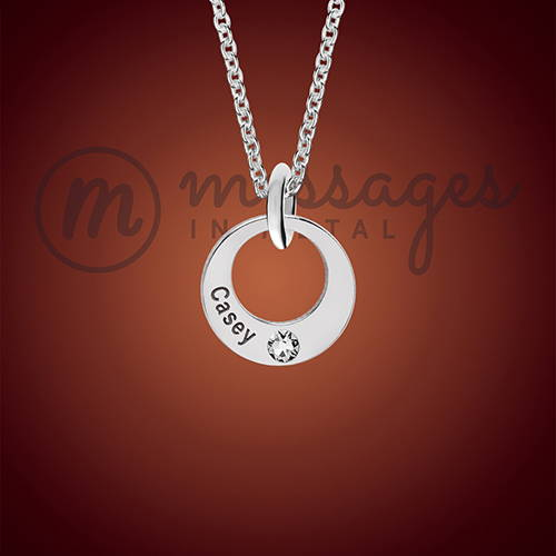 Silver Single Ring Personalized Birthstone Pendant
