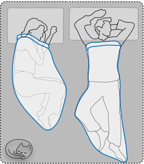 Illustration of two people in bed in sleep pods