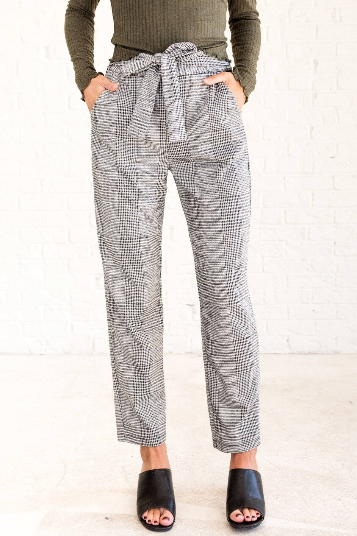Black White Gray Plaid Pants with Bow Tie Front Business Casual for Women