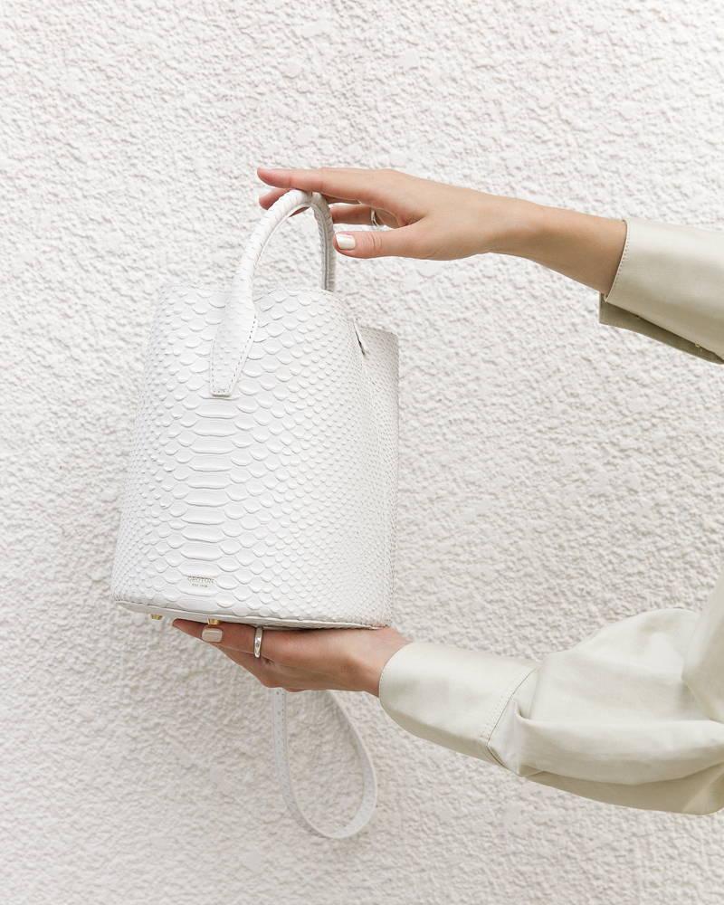 Kaity Modern wearing Oroton Mila Bucket Bag in White