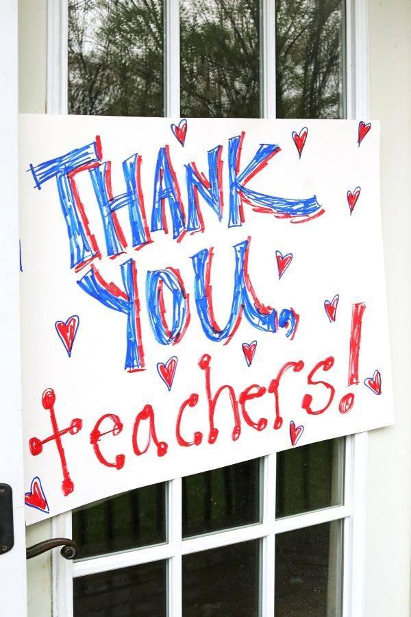 Thank You Teachers Sign on Door