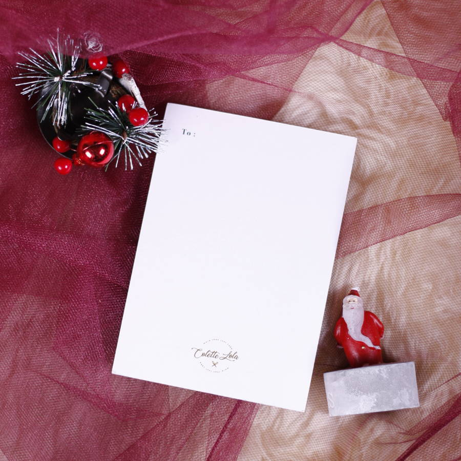 Greeting Card (back) - Sit by the Chimney Hamper - Christmas Collection 2019 - Colette Lola