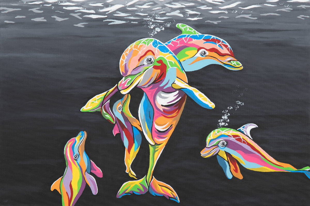 Multi-Coloured Dolphin Art by Steven Brown