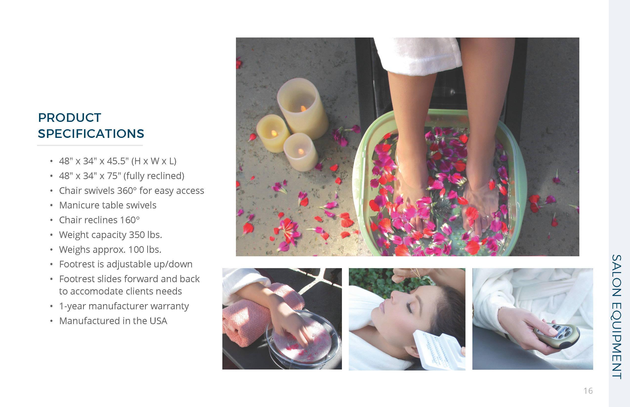 Belava Embrace Pedicure Chair Specs