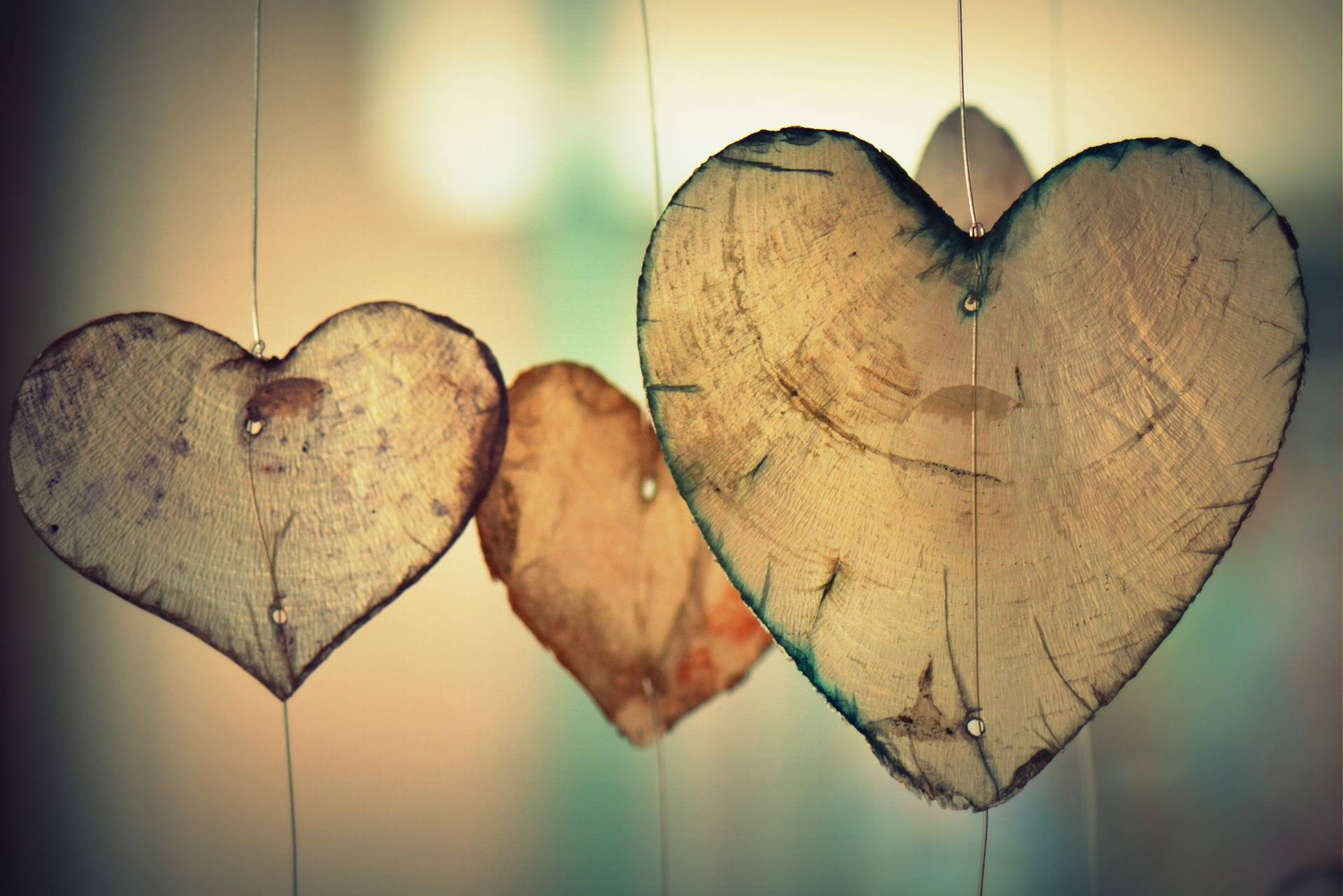 Wooden Hearts Hanging Up