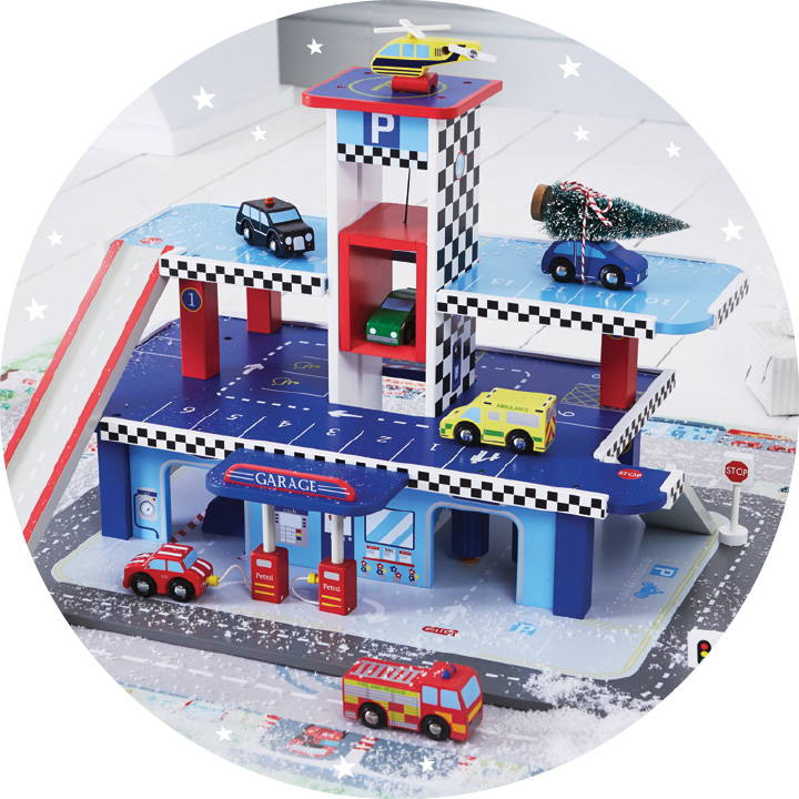 Turbo wooden toy garage with set of wooden toy cars.
