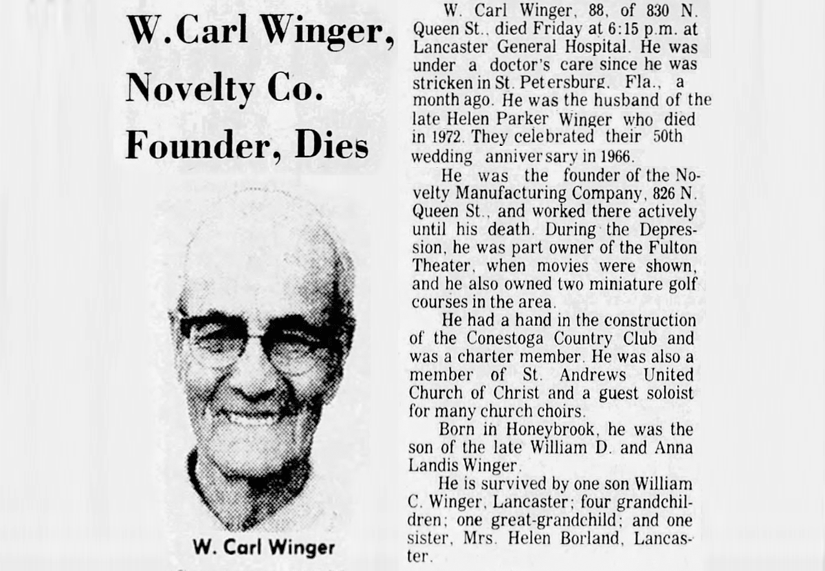Obituary for W. Carl Winger