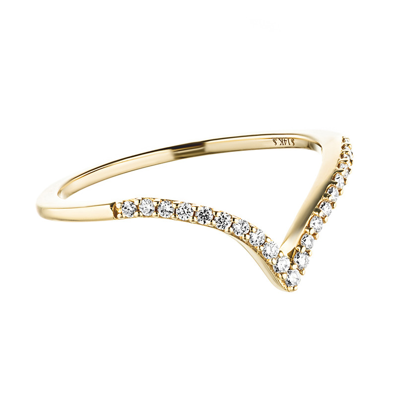 Deep V Gold Ring with Accented Recycled Diamonds
