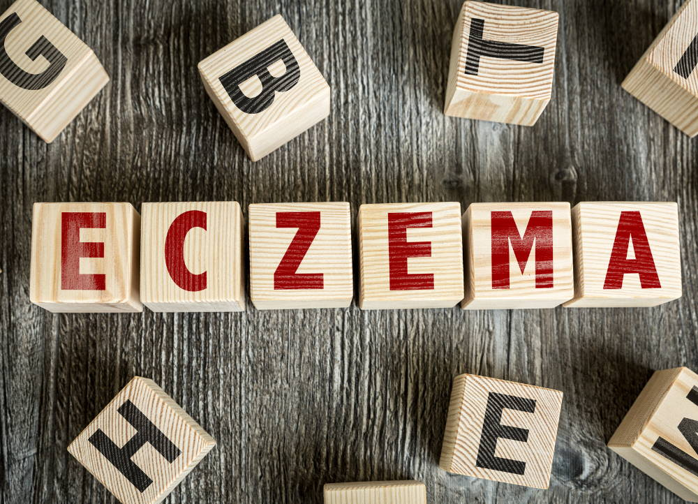 eczema spelled out in blocks eczema and inflammation the gut skin connection