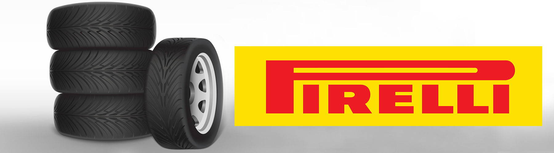 Pirelli red and yellow logo and Tyres