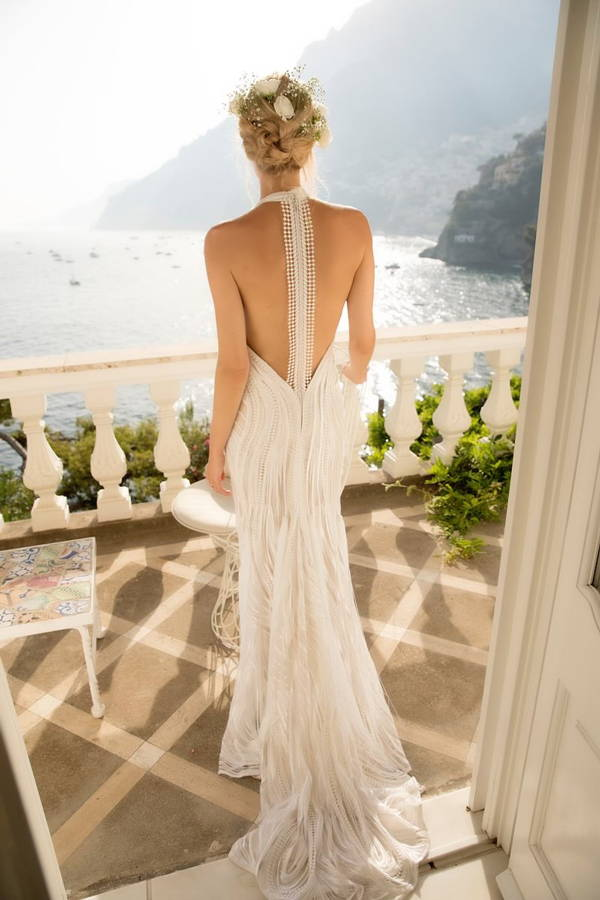 Anna-Christin Haas wearing Galvan London Bridal Backless White Lace Dress