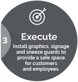 Execute: Install graphics, signage and sneeze guards to provide a safe space for customers and employees.