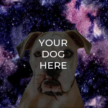 pop your pup pop art example on space background