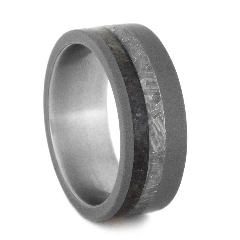 Meteorite and Dino Bone Ring with Sandblasted Titanium