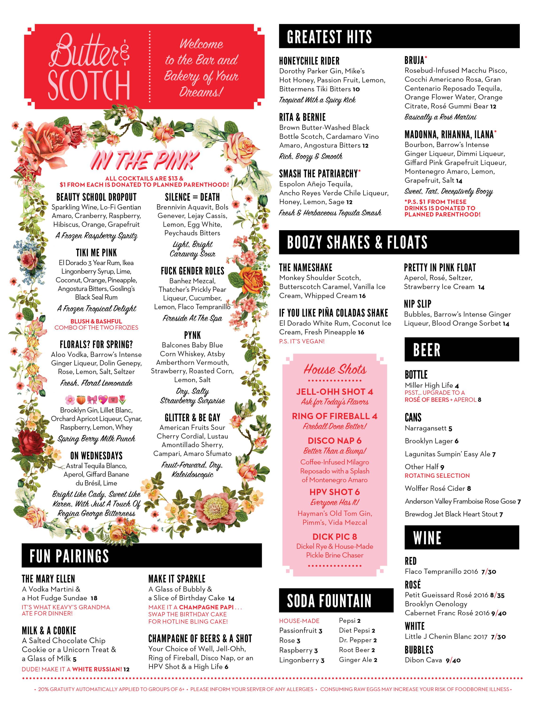 Menus | Butter & Scotch